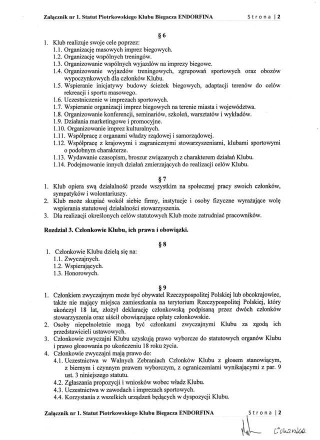 Statut PKB ENDORFINA cz.2/7