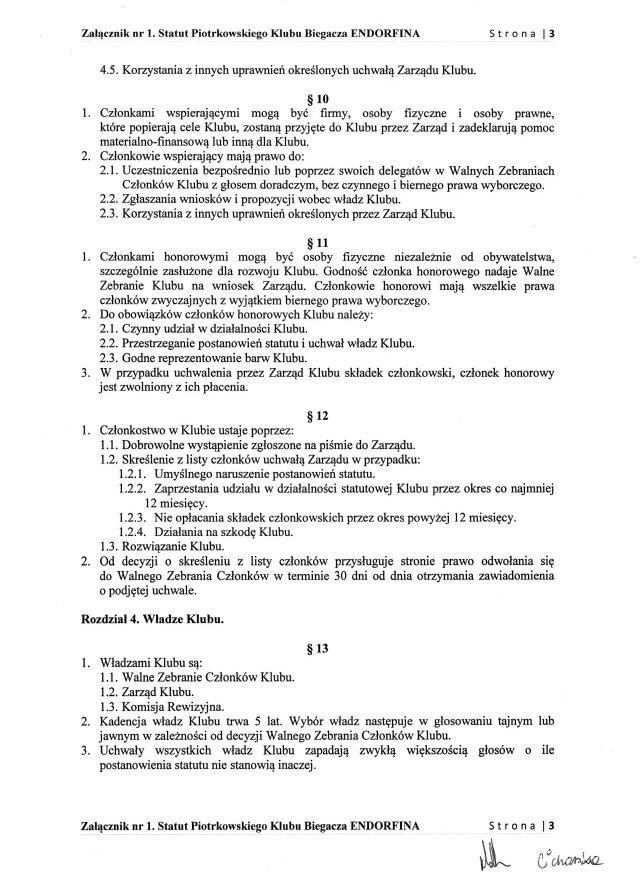 Statut PKB ENDORFINA cz.3/7