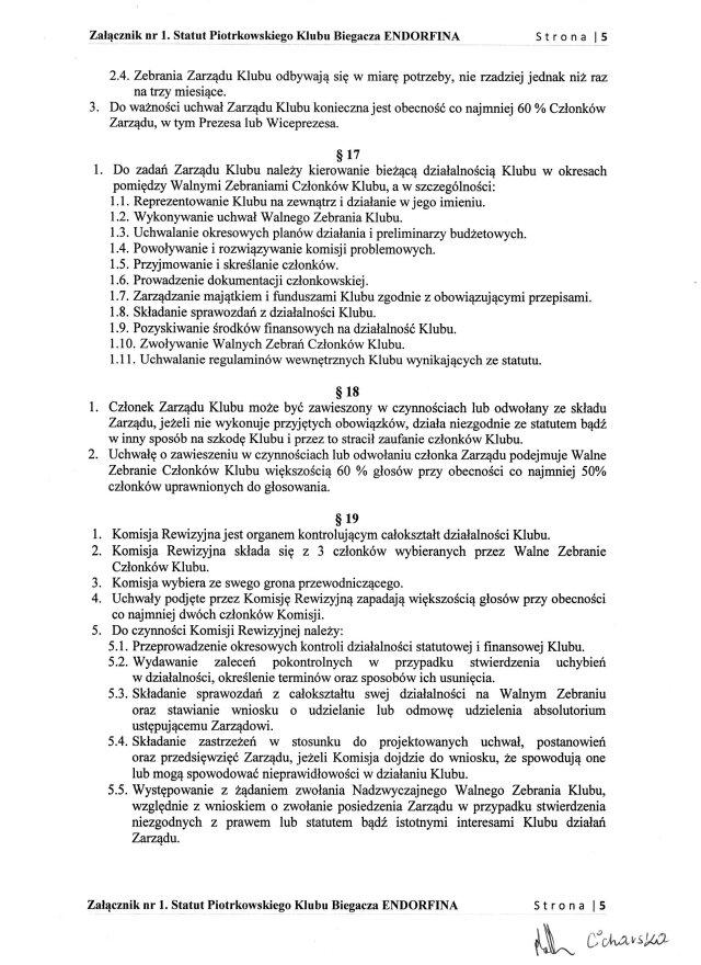 Statut PKB ENDORFINA cz.5/7
