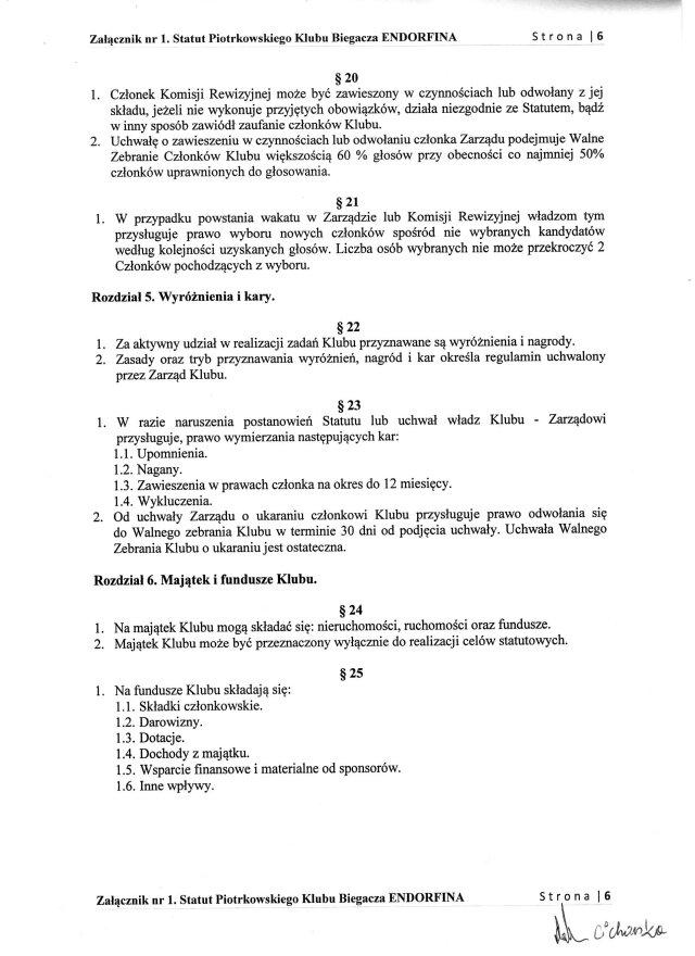 Statut PKB ENDORFINA cz.6/7